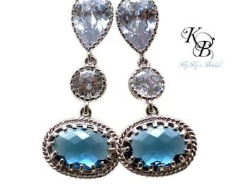 Blue Bridal Earrings, Something Blue Earrings, Blue Wedding Earrings, Bridal Jewelry, Cubic Zirconia Earrings, Blue Earrings, Bridal Jewelry