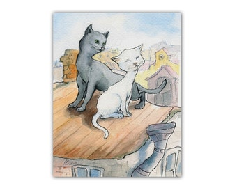 Cat greeting card Cat's love Cats on the roof Postcard animals Funny notecards with pets