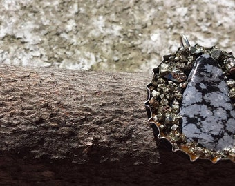 Snowflake Obsidian Bottle Cap Recycled Necklace
