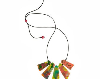 South Pacific Artisan Long Plate Multicoloured Necklace