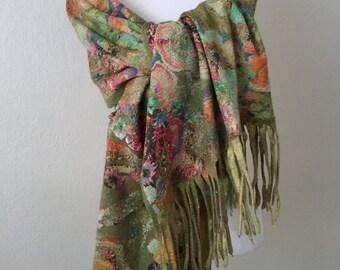 Felting scarf  Green Nuno felting Scarf Felted scarf Accessories Merino wool Silk Gift Scarf for all seasons Woman Scarf Women's Accessories