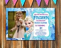 On Sale-Frozen Birthday Invitation, Frozen Birthday, Frozen Birthday Party, Printable Invitation, Frozen Printable Invitation with photo