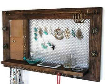 Wall Hanging Jewelry Organizer jewelry organizer jewelry hanger wooden wall hanging