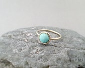 14k solid gold turquoise ring, statement gold turquoise ring