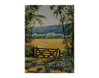 Country Lane, Farm Gate,  Broken Gate, Field and Trees, Original Watercolour Painting,  10 x 13 Inches, Ready to Frame
