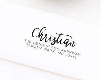 Return Address Stamp, Wood Mounted or Self-Inking Address Stamp, Wedding Invitation Stamp, Personalized Stamp, Gift for Her, Style No. 136