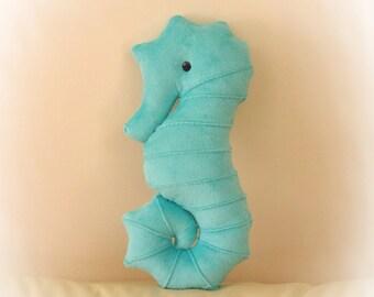 Seahorse Shaped Pillow, Toy Pillow, 3D Pillow, Nautical Decor, Beach House Decor