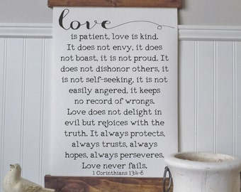 1 Corinthians 13:4-8/love is patient kind/canvas art print/wall art/canvas print/wall decor