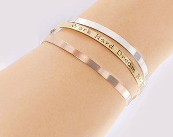 Bracelet Cuff, Engraved Cuff Bracelet, Thin, Mantra Band, Sterling Silver, Gold, Rose Gold Filled