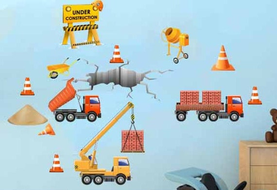 Construction site trucks vehicles fabric wall decals for Construction site wall mural