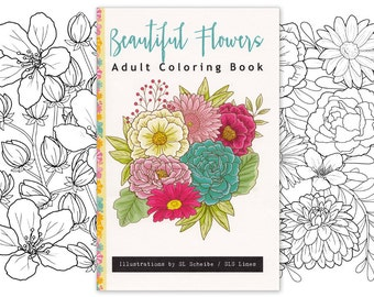 Adult coloring book flower garden, beautiful florals daisies peonies roses lineart and illustrations, 14 page handmade book by SLS Lines