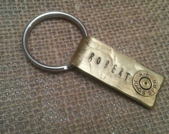 Hand stamped bullet casing keychain