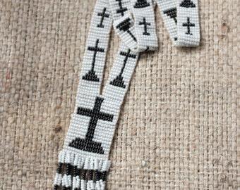 Antique beaded tassel necklace + Handbeaded cross necklace