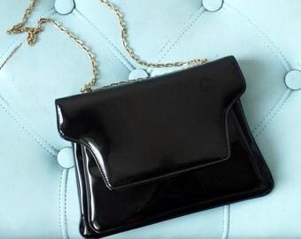 60s black patent leather chain strap bag + Vintage envelope evening bag
