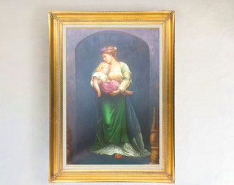 Oil Painting On Canvas Reproduction of Neo-Classical Mother and Child (24X36) Framed
