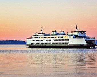 Washington State Ferry Photograph {Fine Art Print, Pacific Northwest Photography, Pink Blue Pastel Sunset Photo, Ocean Artwork, Home Decor}