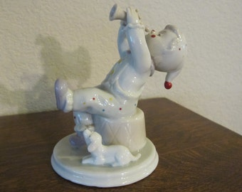 Vintage China, Boy, Clown, horn and dog-free shipping USA