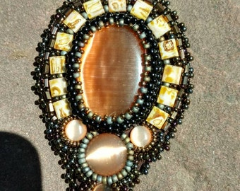 Autumn Browns beadwork jewelry pendent Native American inspired by Beadworkdreamsraven