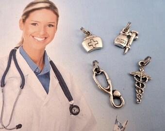 Medical Charm - Add On - FREE SHIPPING - Choose : Caduces , Nurse Hat , Stetoscope, Needle Shot Medicine