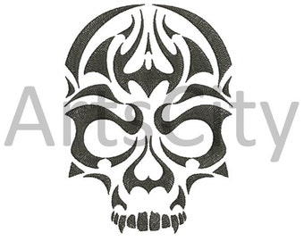 Tribal Flames Skull Embroidery Design  INSTANT DOWNLOAD embroidery tribal tatoo PES