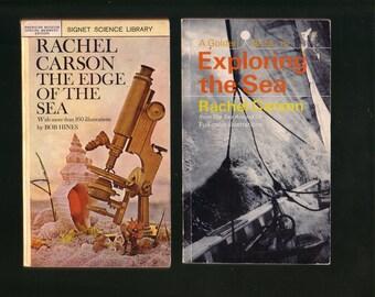 Rachel Carson Book Set: The Edge Of The Sea 1955 & Exploring The Sea 1969.  Rare, Collectible, Good Used Condition