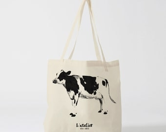 X67Y Tote bag cow, bag for market, bag of races, of course, diaper bag, bag Tote handbag, cotton bag, beach bag.