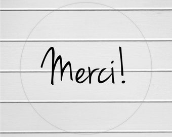 Merci Sticker, Merci Labels, Clear Stickers, Transparent Thank you Stickers (#113-C)