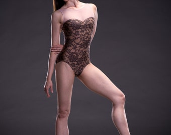 Lesley - *PRINTS* Custom Tank Leotard  with Sweetheart Neckline (specify fabric choices at checkout)