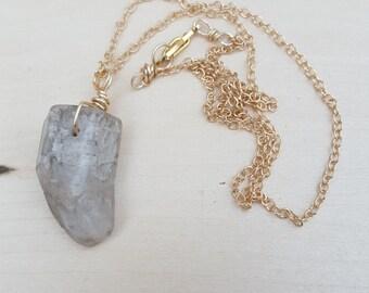 Lodolite (Garden Quartz) Point on Gold Chain