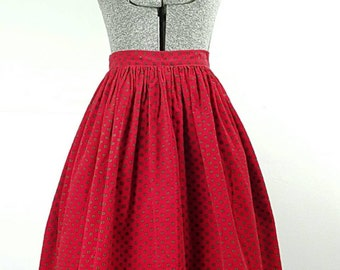 1950's Red Corduroy Skirt