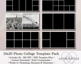 10x20 Photo Template Pack, Photo Collage, Photography Template, Digital Design, Storyboard, Instant Download, Photoshop, Elements Template