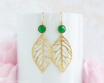 Green leaf earrings, Gold leaves dangle earrings, Palace green glass jewel earrings, Gold nature inspired drop leaf earrings, Green wedding