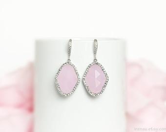 Luxury blush pink earrings, Cubic Zirconia dangle bridal earrings, LUX pink wedding earrings, Big stone drop earrings Pink opal jewelry