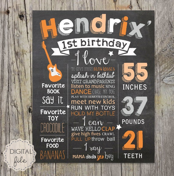 1st Birthday Chalkboard Sign Guitars And Music Theme First