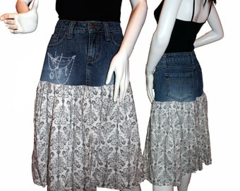 Upcycled Jean Skirt (4-6), Altered Denim Skirt, Eco-Friendly Clothing, Boho Skirt