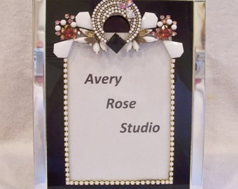 5x7 Black Glass Photo Frame Designed with Vintage Jewelry, New Jewelry and Rhinestones. Perfect Gift.