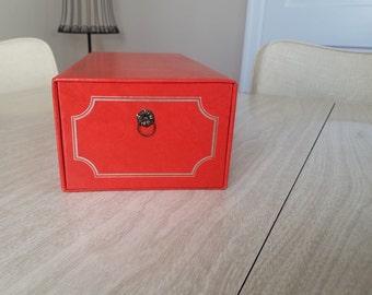 Vintage Orange Photo Box with Sleeves