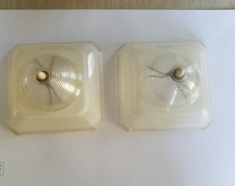 Vintage 1940's Plastic Lamp Shades in Clear Color and Great Textures
