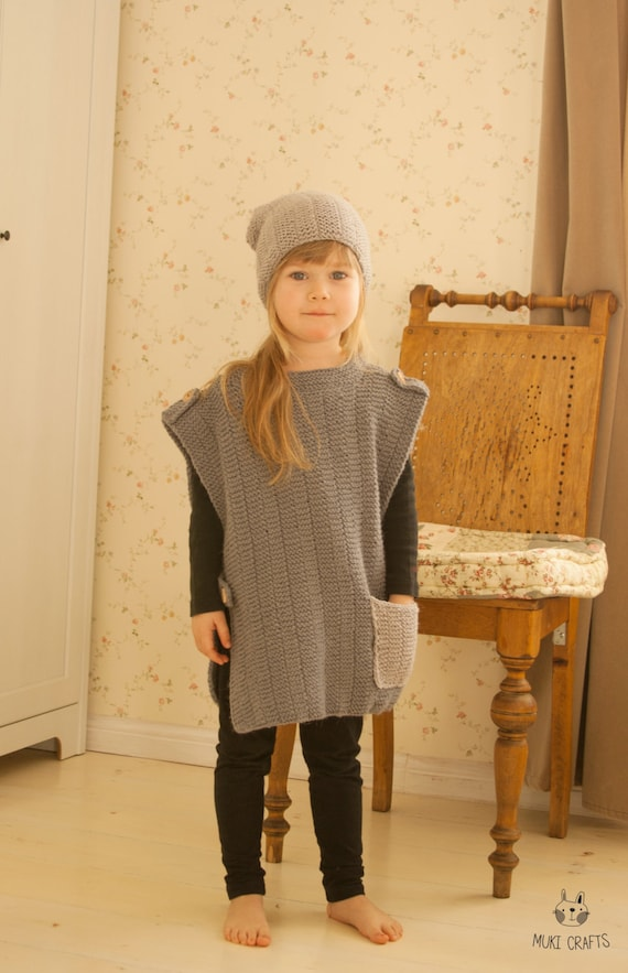 KNITTING PATTERN poncho with a pocket and matching slouch hat Colin (toddler and kids sizes)