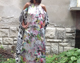 Plus size dress,Silk kaftan,silk caftan,satin maxi summer dress,beach cover-up,resort evening dress,garden party floral dress