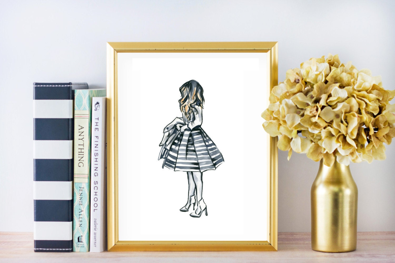 Fashion Art Girl in Stripes Fashion Illustration