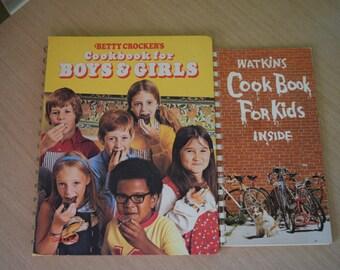Watkins Cook Book for Kids 1977 and Betty Crocker's Cookbook For Boys & Girls 1978