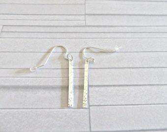 Silver stick earrings, Ultra thin silver stick earrings, Silver bar earrings, Silver line earrings, Minimalist earrings, Hammered jewelry