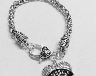 Sweet 16 Crystal Heart Sweet Sixteen Birthday Gift Daughter Girl Charm Bracelet