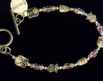 Pink Swarvoski Crystal with Silver Owl Beads Bracelet