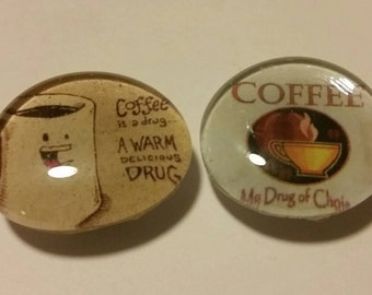 Set of 2 Strong magnets, Glass magnets, coffee magnets, coffee lover, caffeine, drug, adult magnets, refrigerator magnets, kitchen decor