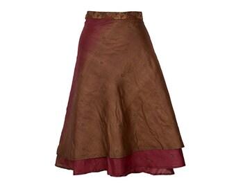 Silk Wrap Skirt, Red Skirt, Brown Skirt, handwoven silk skirt, Long Skirt, Boho Skirt, Plus Size Skirt, Wrap Skirt, Silk Skirt, Elegant