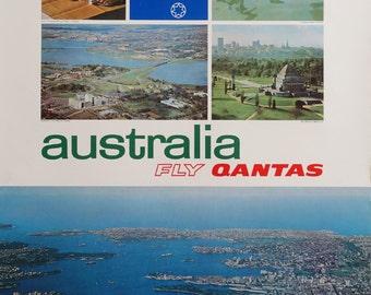 "1970s Australia Travel Poster ""Fly Qantas"" - Original Vintage Poster"