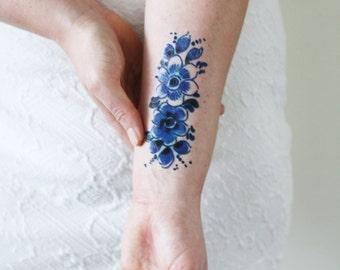 Dutch Delft Blue temporary tattoo / Dutch temporary tattoo / floral temporary tattoo / flower temporary tattoo / something blue wedding