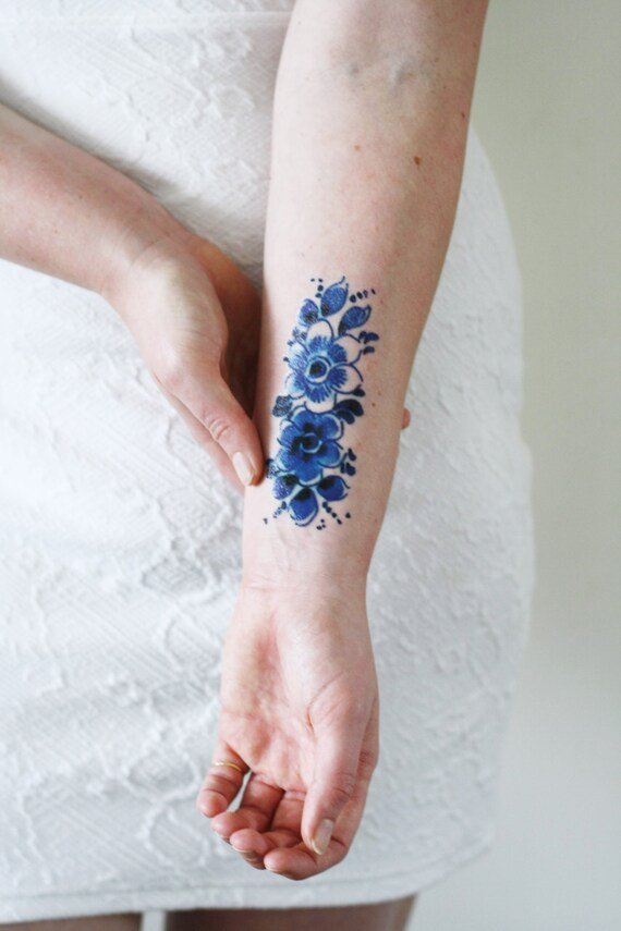 Blue Flower Tattoo Designs: Dutch Delft Blue Temporary Tattoo / Dutch Temporary Tattoo